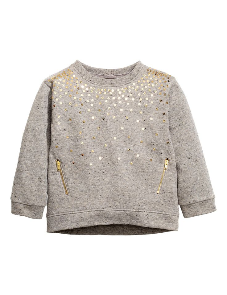 Check this out! Sweatshirt with sequined embroidery at front and ribbing at cuffs and hem. Slightly longer at back. - Visit hm.com to see more.