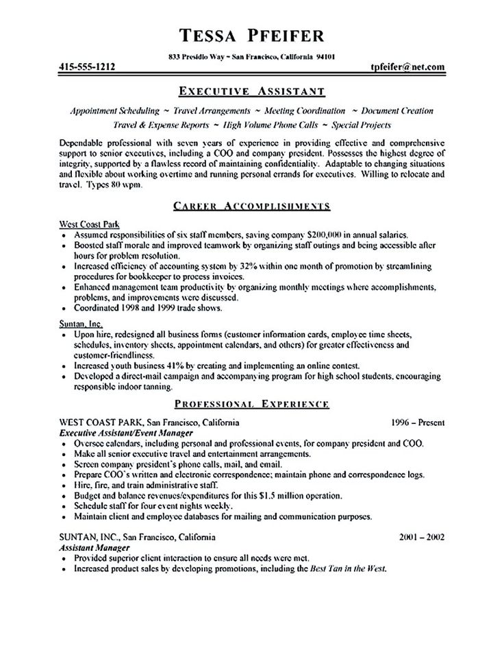 28 best Executive Assistant Resume Examples images on Pinterest - resume for mba application