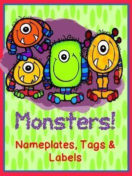 MONSTER {EDITABLE} NAMETAGS & LOCKER TAGS AND DECOR ...