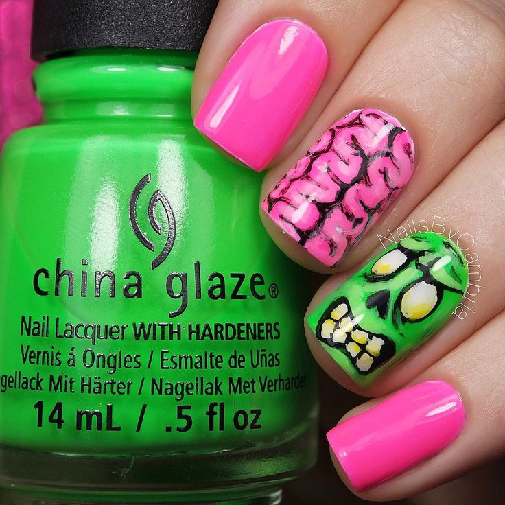 """"""" How fun are these zombie nails? These are the only Halloween nails I've done that use pink!These were completely inspired by @hollynailsit  Tutorial…"""""""