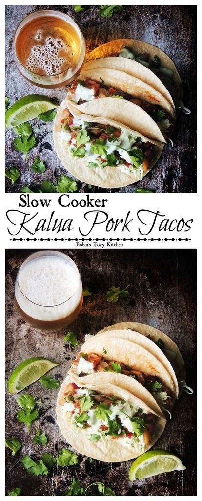 Slow Cooker Kalua Pork Tacos - Tender juicy pork, in a Hawaiian inspired sauce, wrapped in a warm corn tortilla. Say