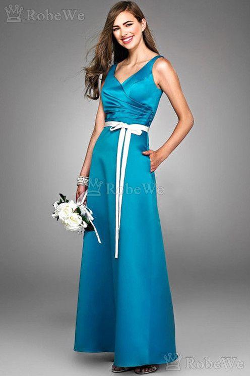 Robe demoiselle d'honneur moderne formelle naturel avec nœud à boucles milieu