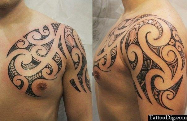 Maori Polynesian Tribal Chest Shoulder Tattoo