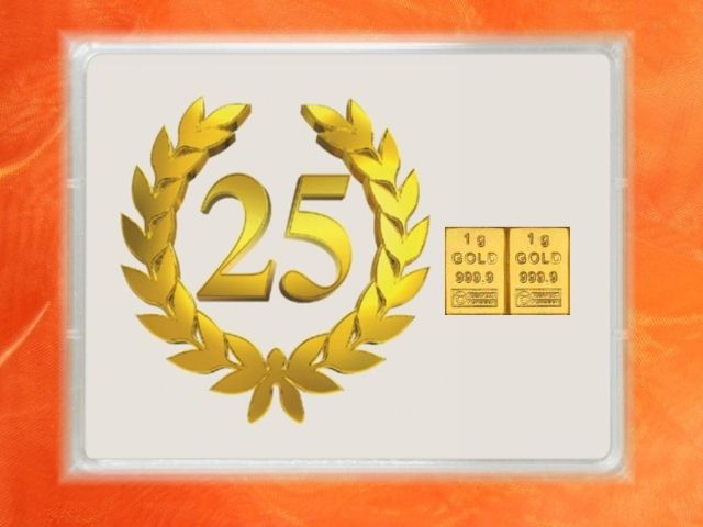 2 g Goldbarren zum Jubiläum 25 Jahre - auch in 1 g und 3,1 g bei der GP METALLUM verfügbar