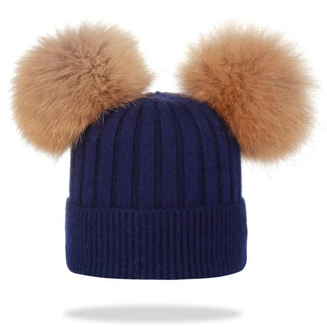 b4339ae8d7b Winter hat for women wool knitting beanies natural fur double pom poms  Skullies