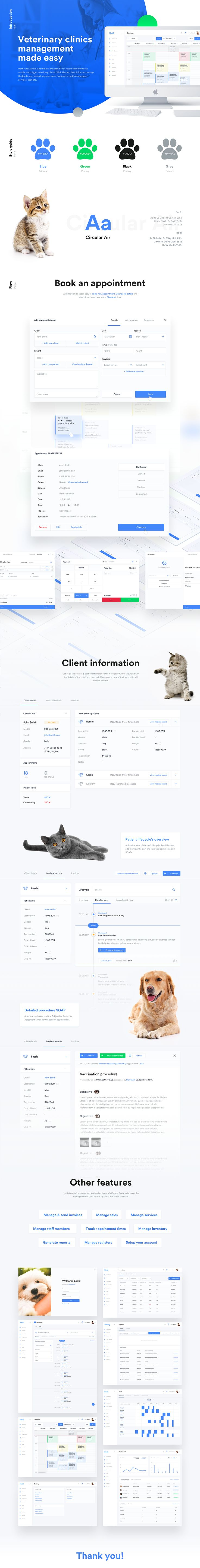 UI/UX design for veterinary practice management software