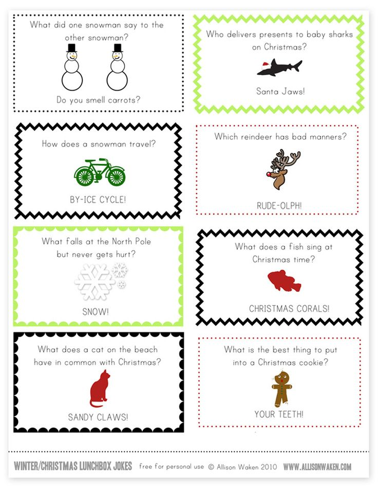Kid Inspiration - All for the Boys - Christmas / Winter Lunchbox NoteJokes