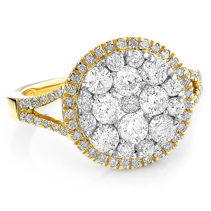 Round Diamond Engagement Rings 14K Gold Ladies Diamond Cluster Ring 1.9ct