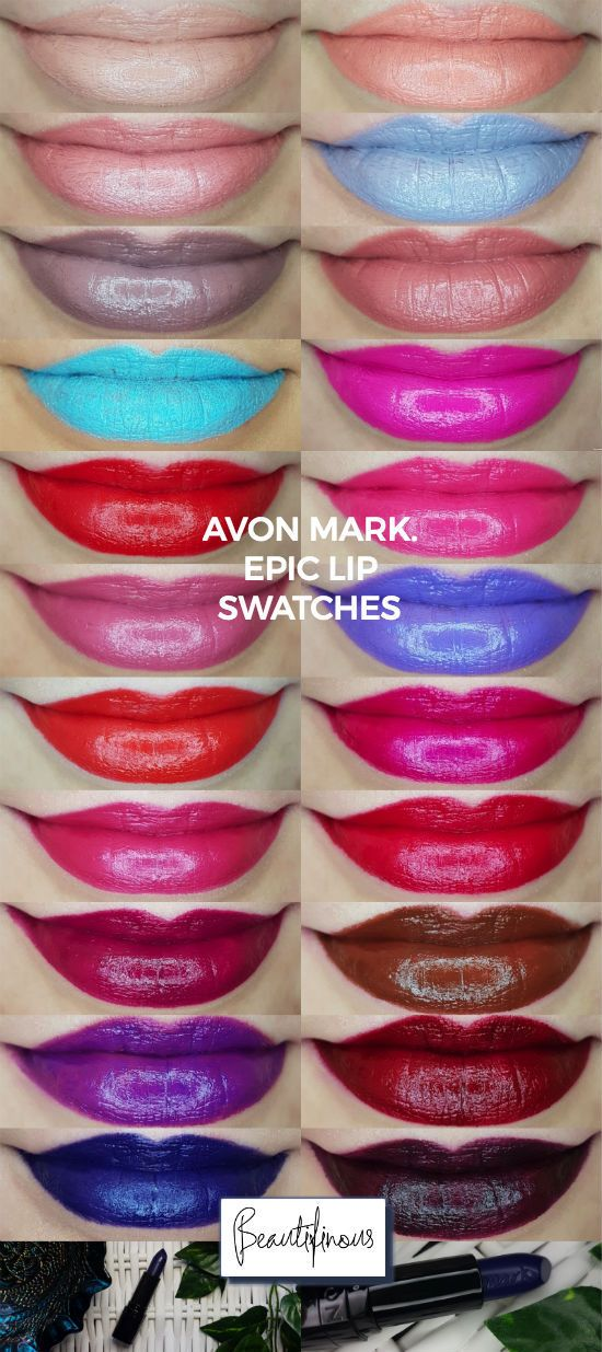 Swatches Of The Avon Mark Epic Lip Lipstick Range Full Review And
