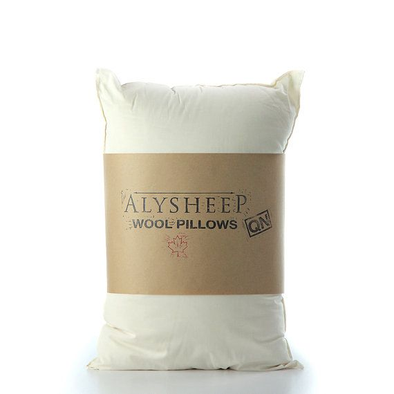 Wool Pillow  Organic White Queen Bed Pillow // by TRUNKandTREADLE
