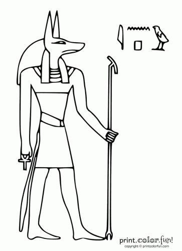 egypt stencils Egyptian god Anubis Print Color Fun