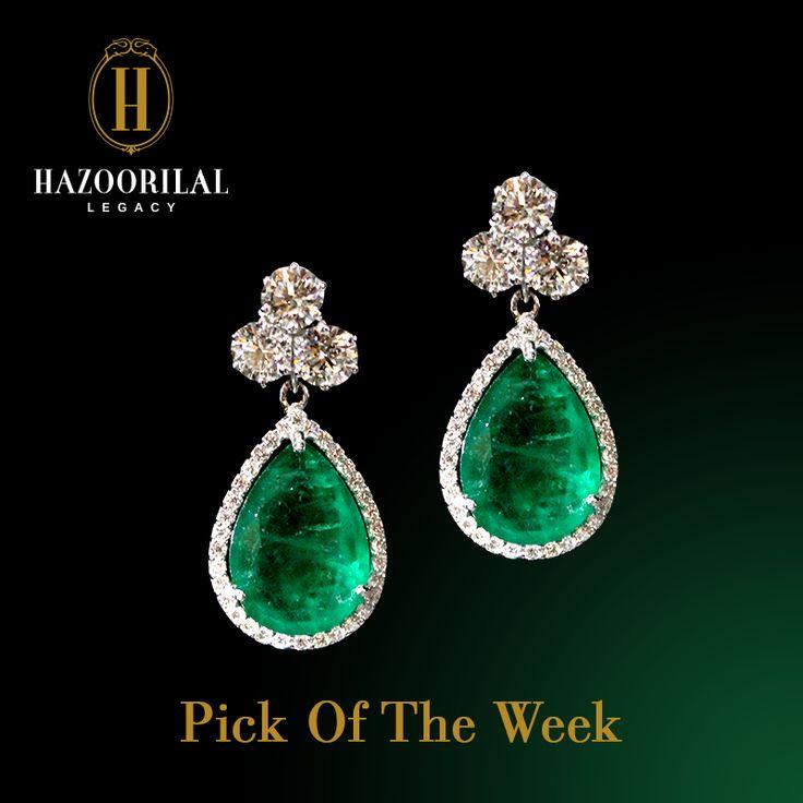 Drops of heaven by #HazoorilalLegacy. #Hazoorilal #Jewelry #Earrings #Diamond #Emerald.