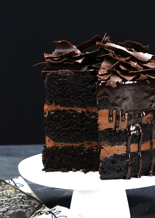 Rustic Chocolate Cake with Chocolate Ganache @ Eat Drink Binge