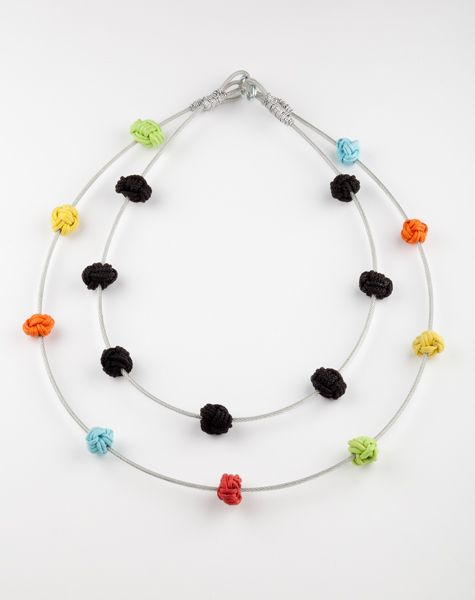 """""""Small groups of people"""" Necklace (Stainless steel, cotton rope)"""