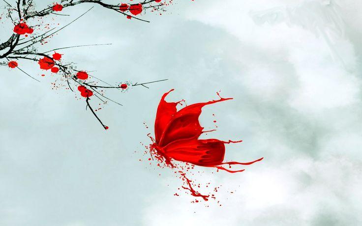 Красная бабочка, японский рисунок - обои для рабочего стола, картинки, фото