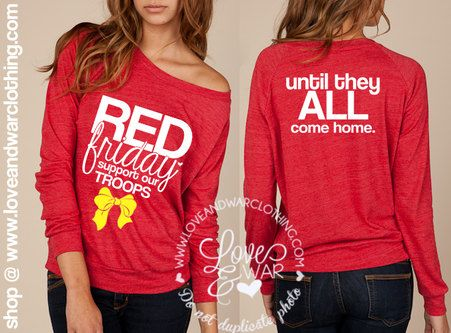 Red Friday support our troops  slouchy long by Loveandwarofficial, $37.95