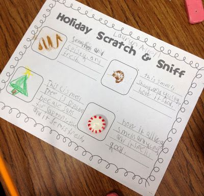 Holiday Scratch & Sniff holiday scents and write adjectives to describe what
