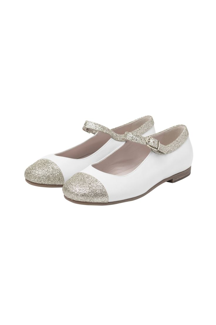 Italian Luxury White Mary-Janes with golden tips | Il Gufo
