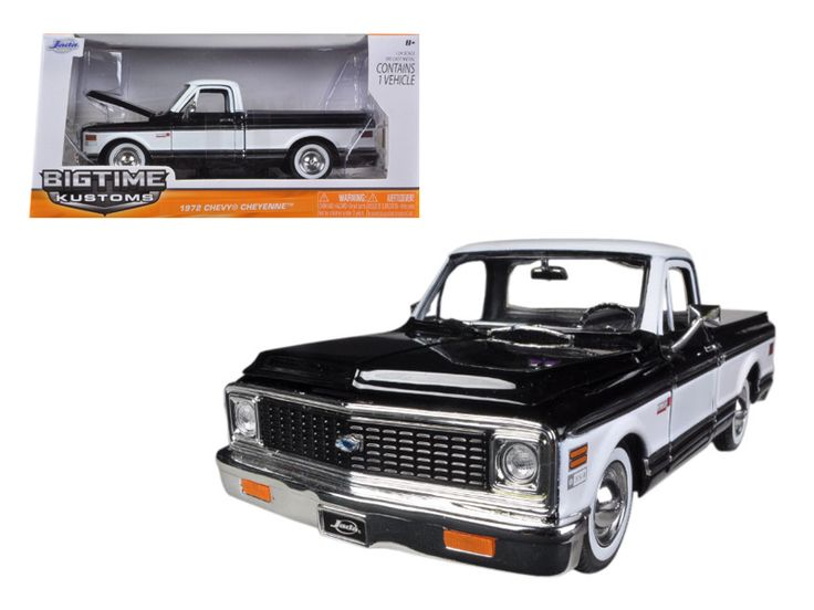 1972 Chevrolet Cheyenne Pickup Truck Black 1/24 Diecast Car Model by Jada - Brand new 1:24 scale diecast model car of 1972 Chevrolet Cheyenne Pickup Truck Black die cast car model by Jada. Rubber tires. Brand new box. Comes in a window box. Detailed interior, exterior. Has opening doors, hood and rear gate. Made of diecast with some plastic parts. Dimensions approximately L-8, W-3.75, H-3.25 inches. Please note that manufacturer may change packing box at anytime. Product will stay exactly…