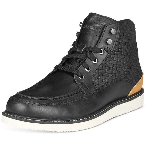 Timberland Men's New Market Woven Panel Boots ($120) ❤ liked on Polyvore featuring men's fashion, men's shoes, men's boots, black, timberland mens boots, mens chukka boots, mens chukka shoes, mens black boots and timberland mens shoes