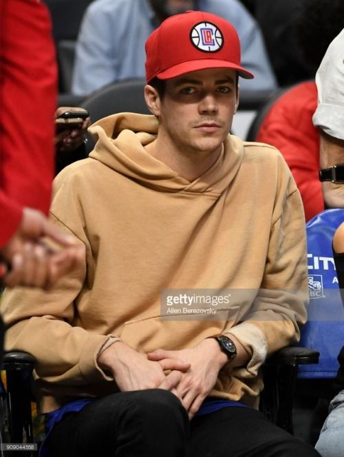 Grant Gustin attends the LA Clippers game on January 22 2018...