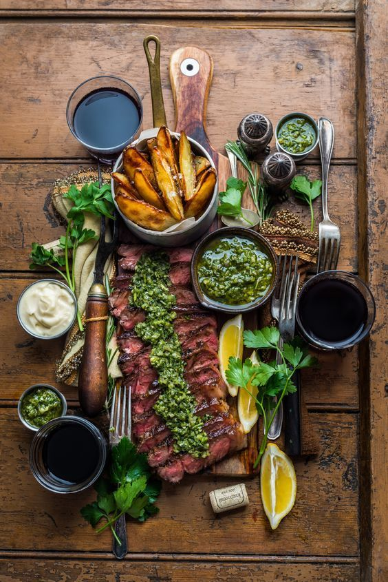 Steak and chips with chimichurri sauce – Dennis the Prescot #steak and chips wit…