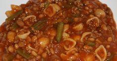 gegeten 25 september    2 uien, 2 el olie, 250 gram gehakt, blik tomaten (gepureerd), 2 vleesbouillontabletten, 1 pot witte bonen in tom...
