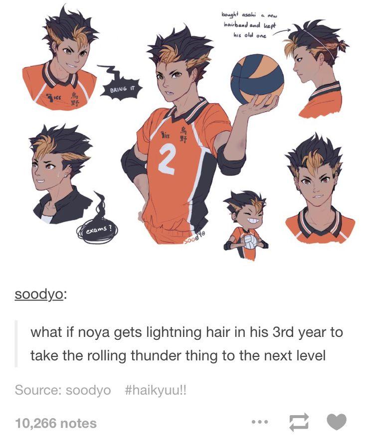 Nishinoya Yuu Lightning hair