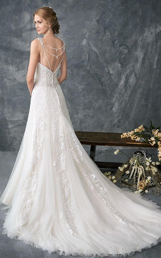 Kenneth Winston 1771 | fitted lace gown | stunning low beaded strap back | beaded belt | romantic wedding gown