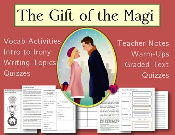15 Lessons and Activities for teaching The Gift of the Magi to high school and university students, and advanced ESL students. Full original text plus simplified version and a summary.