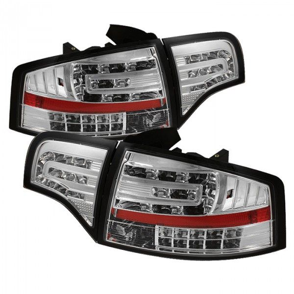 Spyder Auto ALT-YD-AA406-G2-LED-C | 2007 Audi A4 Chrome/Clear LED Taillights for Coupe/Sedan/Hatchback/Wagon