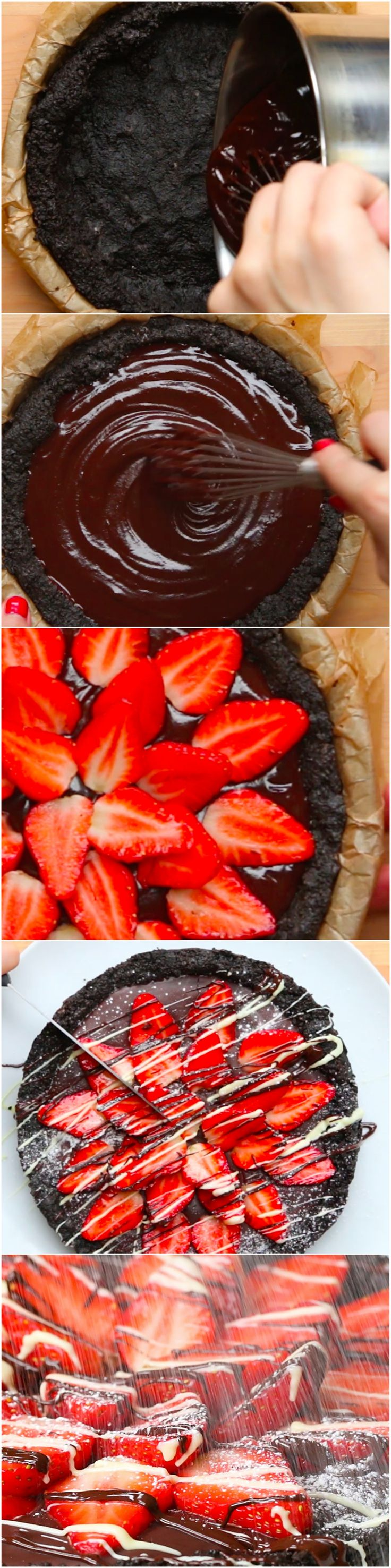 Easy Strawberry And Chocolate Tart I could make the base out of biscuits, the centre out of mousse... Yum