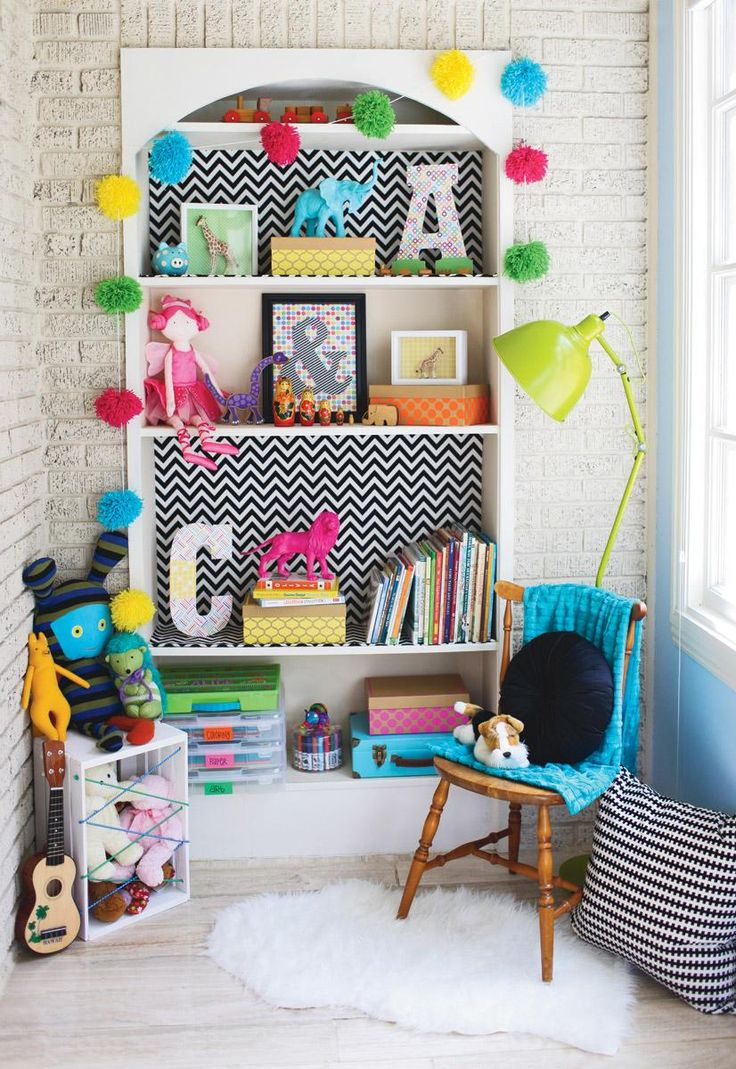 What a fun DIY - put patterned paper or fabric on the back of a shelf for a fun pop of color/pattern!: Kids Rooms Decor, Kids Playrooms, Kids Spaces, Colors, Shelves, Projects Ideas, Plays Area, Pom Pom, Girls Rooms