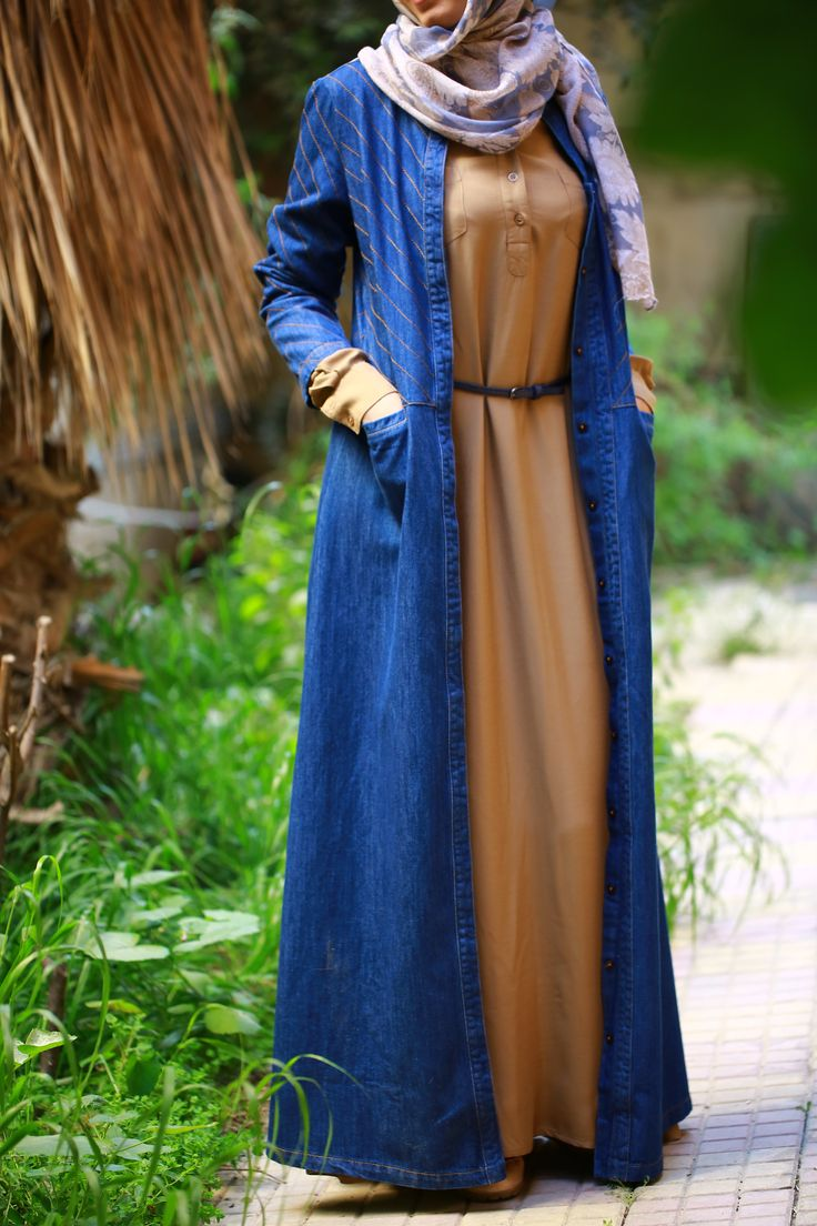 Feat. SHUKR Topstitched Denim Jilbab; SHUKR Dina Dress; & SHUKR Four Seasons Print Hijab