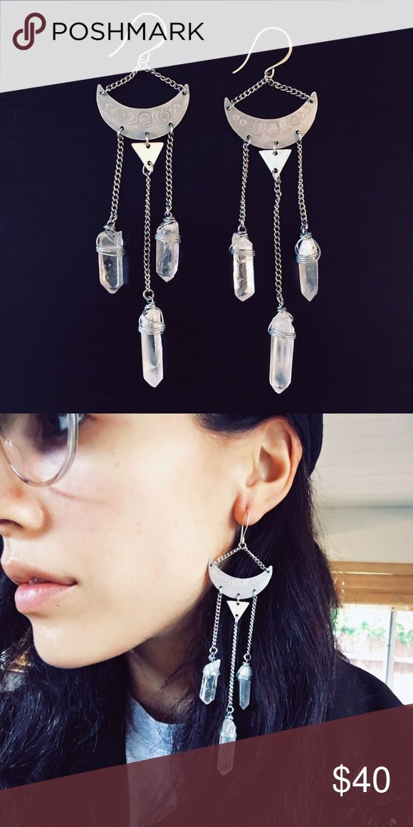 Quartz crystal chandelier earrings By Aurora Shadow on Etsy. Raw quartz crystals. Engraved with the phases of the moon. Handmade. Rare find. No offers. Price is firm. Discount with bundle. FP for views. Only worn once. Like new Free People Jewelry Earrings