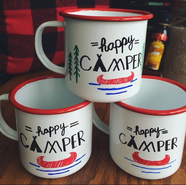 DIY personalized enamelware camping mugs