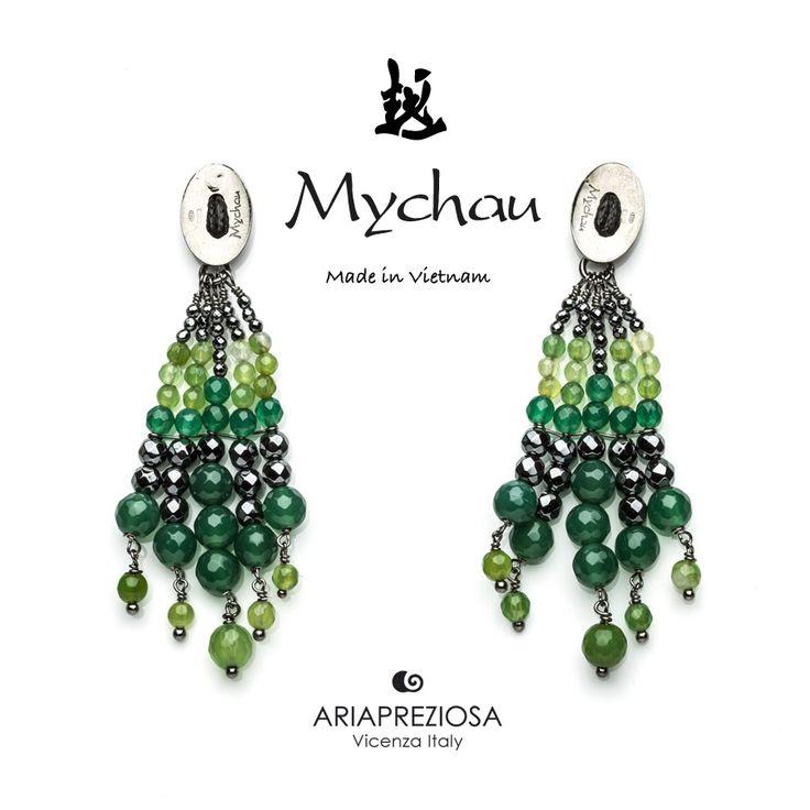 """Mychau - Coppia di orecchini Vietnam """"Fans"""" originali, realizzati in Argento 925‰ e pietre naturali Agata Verde. Chiusura a farfalla"""