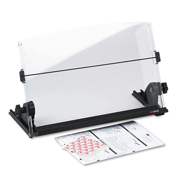 3M In-Line Adjustable Desktop Copyholder - Black / Clear - MMMDH630