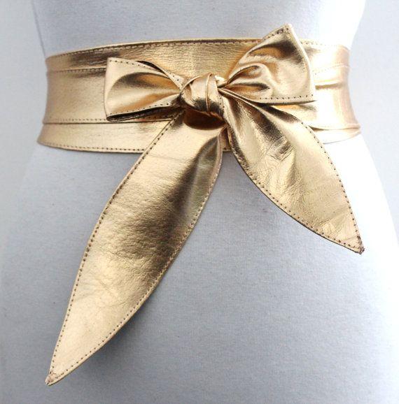 Gold Leather Obi Tulip Tie Belt  Waist or Hip Belt  by LoveYaaYaa on Etsy. $43.48