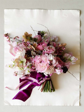 bouquet with peony, hyacinth, garen roses, and sweet pea #flowers #wedding