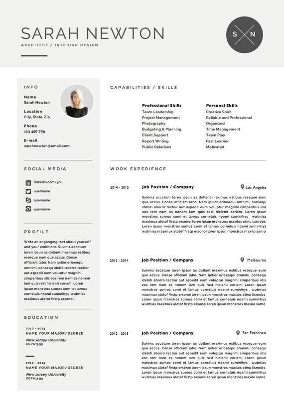 Includes Second Page and References The Amber DIY Printable Resume 4 Pack Modern Resume Template and Cover Letter Template for Word