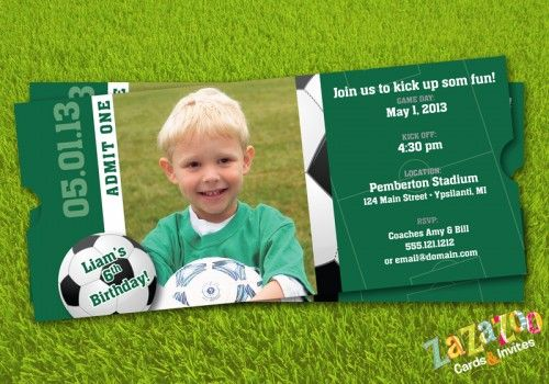 Soccer Sports Ticket shaped photo birthday invitation - set of 12 | zazazoo - Cards on ArtFire