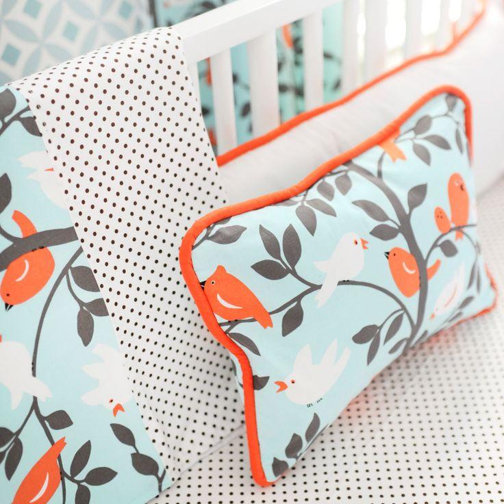 New Arrivals Crib Bedding Feather Your Nest Aqua @Layla Grayce