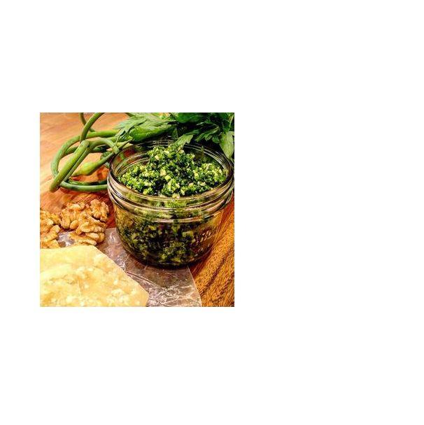 Garlic Scape, Parsley Pesto - yum!