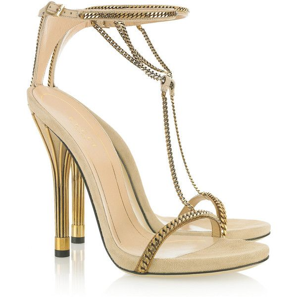 Gucci chain sandals.... Like wrapping your feet in expensive jewelry.  Sigh: Gucci Chain Trimmed, Style, Gucci Shoes, Gucci Sandals, Chaintrimmed, Gucci Heels, High Heels, Suede Sandals, Chain Trimmed Suede