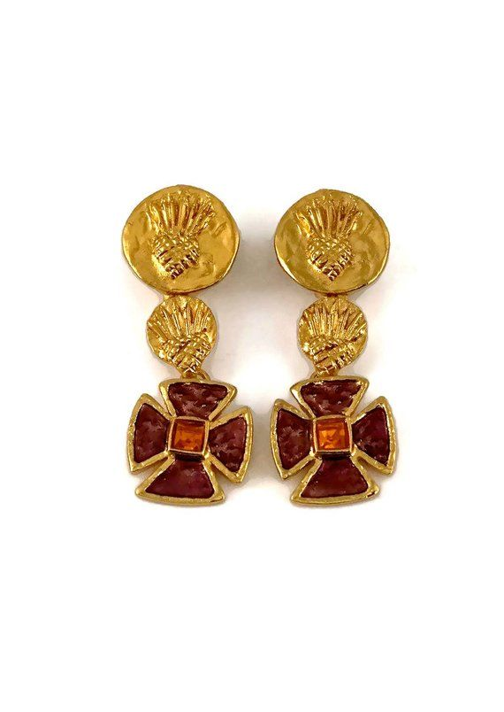 c82caf3ff03 Pin by The Vintage Cornucopia on French Designer Jewelry - YVES ST. LAURENT  in 2019 | Ysl, Yves saint laurent, Earrings