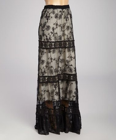 Dynamite!!!!  Perfect for elegant evenings! Black & Beige Lace Maxi Skirt #zulilyfinds