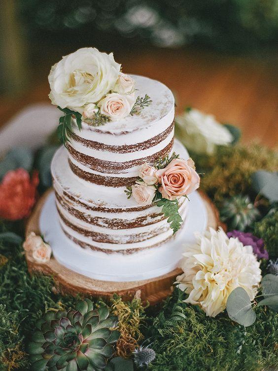 Rustic Two Tier White Wedding Cake   Wedding Cakes ...