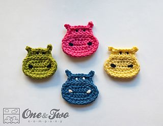 Hippo Applique - $2.99 by Carolina Guzman of One and Two Company