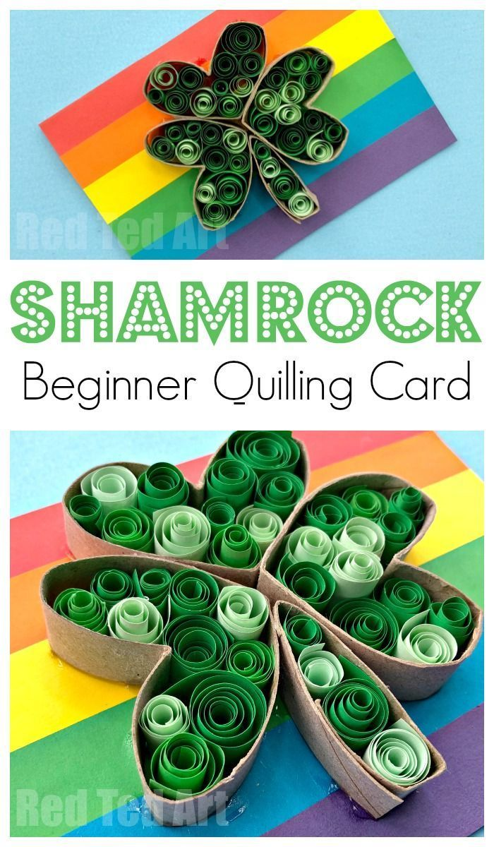 Paper Quilled Shamrock Cards St Patricks Day Crafts For Kids St
